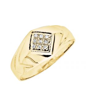 10K Yellow Gold Kite Shaped Milgrain Diamond Pinky Ring (0.10ct.)