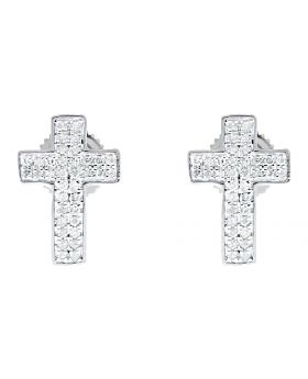 13mm Round Pave Diamond Cross Earrings Studs in 10k White Gold (0.20 ct)