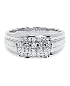 Vertical Row Diamond Round Cut Mens Band in 14k White Gold (0.47 ct)
