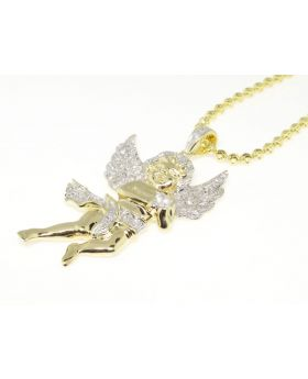 Mini Yellow Finish Angel Diamond Pendant set in Sterling Silver with Chain (0.80 Ct)