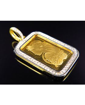 Custom Diamond 5 G Pamp Suisse Pendant in 24K Yellow Gold (.90 Ct)