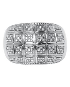 White Gold Finish Mens Round Pave Diamond Fashion Band Ring (0.20 ct)