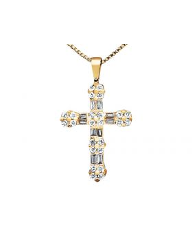 Ladies Yellow Gold Round and Baguette Cut Diamond Flower Cross Pendant (0.50ct)