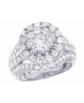 Ladies 14K White Gold Real Diamond Cluster Engagement Ring 2 1/2 CT 16MM