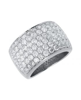 14mm XL Round Pave Diamond Fashion Band in White Gold (4 ct)