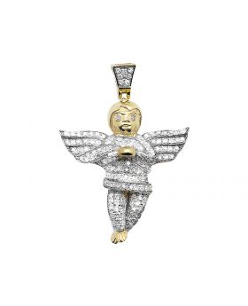 10K Yellow Gold Diamond Cherub Angel Pendant (.66 Ct)