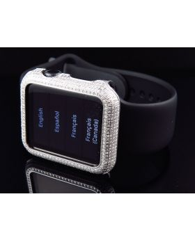 Apple I-Watch Sports 7000 Series Black Silicon Sports Strap Diamonds (2.0ct)