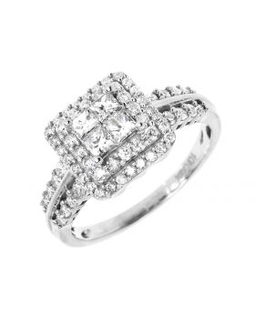 Double Halo Round Princess Diamond Engagement Ring in 10k White Gold (1.0 ct)