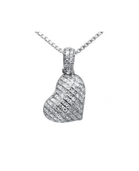 14K White Gold Tilted Puff Heart Pave Diamond Pendant (0.15ct.)