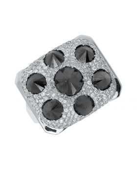 10k White Gold Mens Black White Diamond Spike Ring (11.25ct)