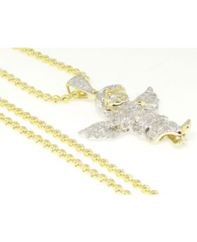 Mini Angel Diamond Pendant set in 10K Yellow Gold with Chain (1.0 Ct)
