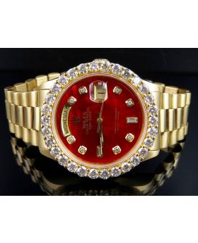 Rolex President 18K Day-Date President Red Face with Diamond Bezel (5.5 ct)