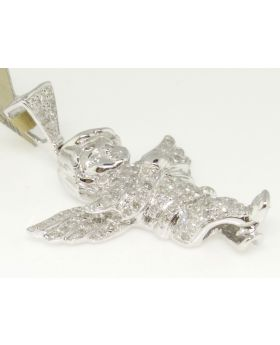 Mini Angel Diamond Pendant set in 10K White Gold (1.0 Ct)