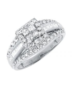 10k White Gold Princess Round Diamond Engagement Ring (1.0 ct)