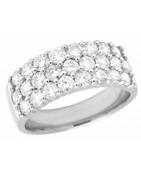 14K White Gold Real Diamond 3 Row Ladies Band Ring 2 CT 8MM