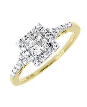 Square Frame Princess Diamond engagement Ring in 10k Yellow Gold (0.52 ct)