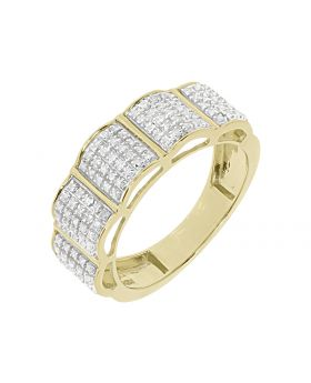 Mens Round Pave Diamond 8mm Wavy Wedding Fashion Band Ring in Yellow Gold (0.55 ct)