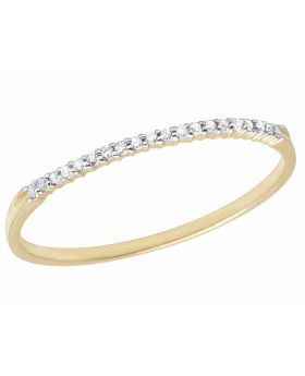 10K Yellow Gold One Row Genuine Diamond Prong Engagement Band Ring 1/20 ct 1MM
