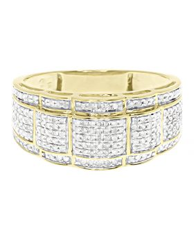 Mens Round Pave Diamond 10mm Wavy Wedding Fashion Band Ring in Yellow Gold (0.85 ct)