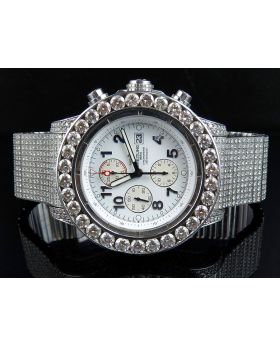Custom Breitling A13370 Super Avenger Fully Iced S.Steel with Diamonds (39.5 Ct)