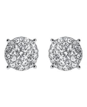 14k White Gold Round Diamond Solitaire Look Earrings 10mm (1.75 ct)