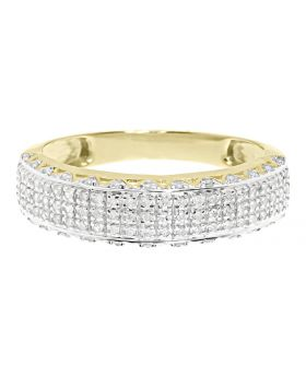 Mens Round Pave Diamond 6mm 3D Wedding Band Ring in 10k Yellow Gold (0.45 ct)