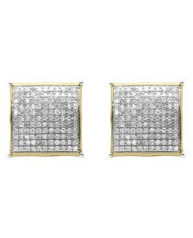 Diamond Square Earrings in 10k Yellow Gold (1.0 ct)
