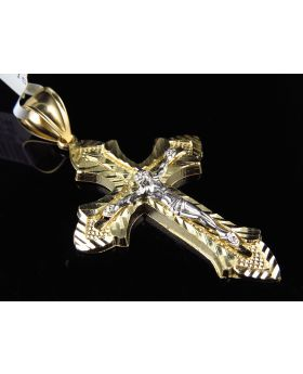Solid 10K Two Tone Gold Cross Crucifix Diamond Cut  2.25 Inch Pendant Charm