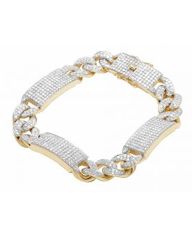 Men's 10K Yellow Gold Iced Out Cuban ID Bar Bracelet 9 CT 12MM