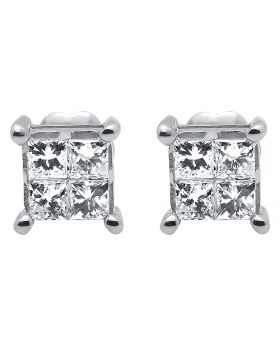 14K White Gold Princess Diamond Square Stud Earrings (0.50 ct)