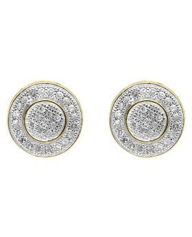 10K Yellow Gold Round Pave Diamond 3D Studs Earrings (0.25 ct)