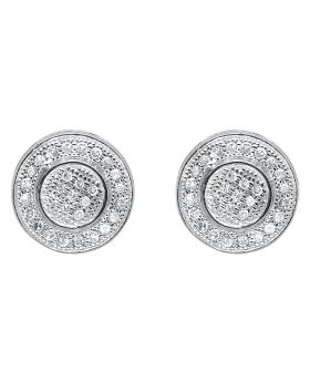 10K White Gold Round Pave Diamond 3D Studs Earrings (0.25 ct)