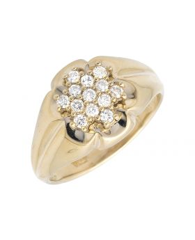 14K Yellow Gold Flower Cluster Diamond Pinky Band Ring (0.40ct.)