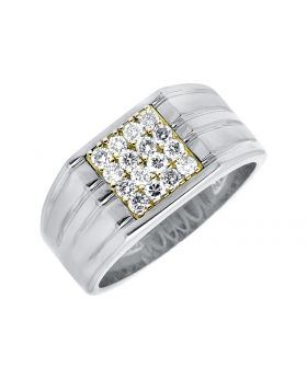 14K White Gold Diamond Ridged Shank Pinky Band Ring (0.50ct)