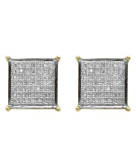 Diamond Square Earrings in 10k Yellow Gold (0.60 ct)