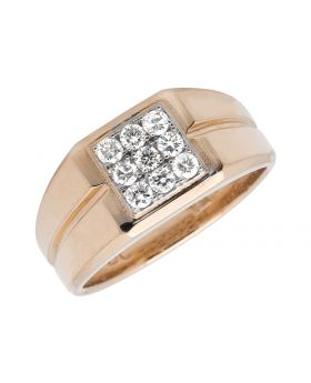 Men's 14K Rose Gold Diamond Grooved Shank Pinky Band Ring (0.65ct)