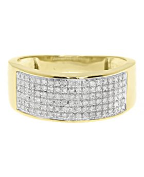 Men's 6 Row Pave Diamond Band Ring in 10k Yellow Gold 9MM (0.50ct)