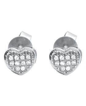 10K White Gold Diamond Mini Puffed Heart Earrings (0.1 ct)