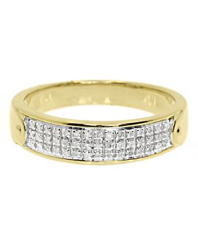 Men's 3 Row Pave Diamond Band Ring in 10k Yellow Gold 5.5 MM (0.25ct)