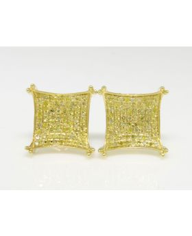 Canary Diamond Kite Prong 12.5 mm Earrings set in 10k Yellow Gold (0.75 Ct)