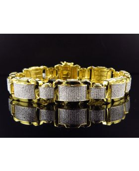Men' Yellow Gold Finished Dome Bar Link Diamond 9 Inch Bracelet (2.0ct.)