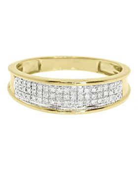 10k Yellow Gold Mens 6mm Pave Diamond Band (0.25 ct)