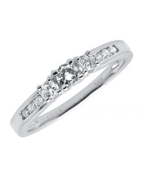 10k White Gold Round Diamond 3 Stone Ring (0.33 ct)