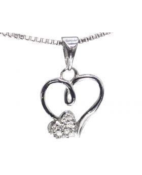 Dual Heart Necklace in Sterling Silver (0.05 ct)