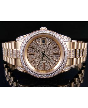 Unisex Rose Gold Stainless Steel Presidential Simulated Diamond Watch 36MM