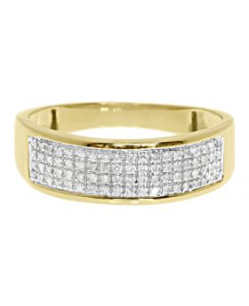 Men's 4 Row Pave Diamond Band Ring in 10k Yellow Gold 7MM (0.28ct)