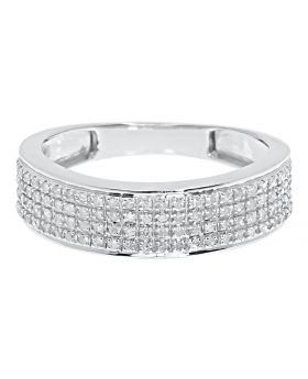10k White Gold Mens 6.5mm Pave Diamond Band (0.45 ct)