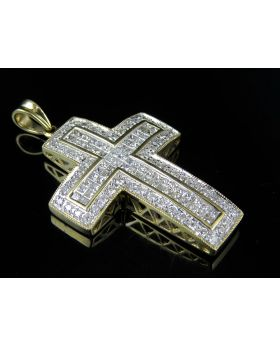 "10K Yellow Gold Cross Genuine Diamond Charm Pendant 1.6"" 2.25Ct"