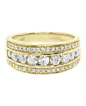Three Row Channel Set Diamond Band Ring in 14k Yellow Gold (1.2 ct)