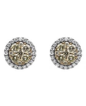 9.5mm Cluster Canary Diamond Earrings in 14k Gold (1.25 ct)